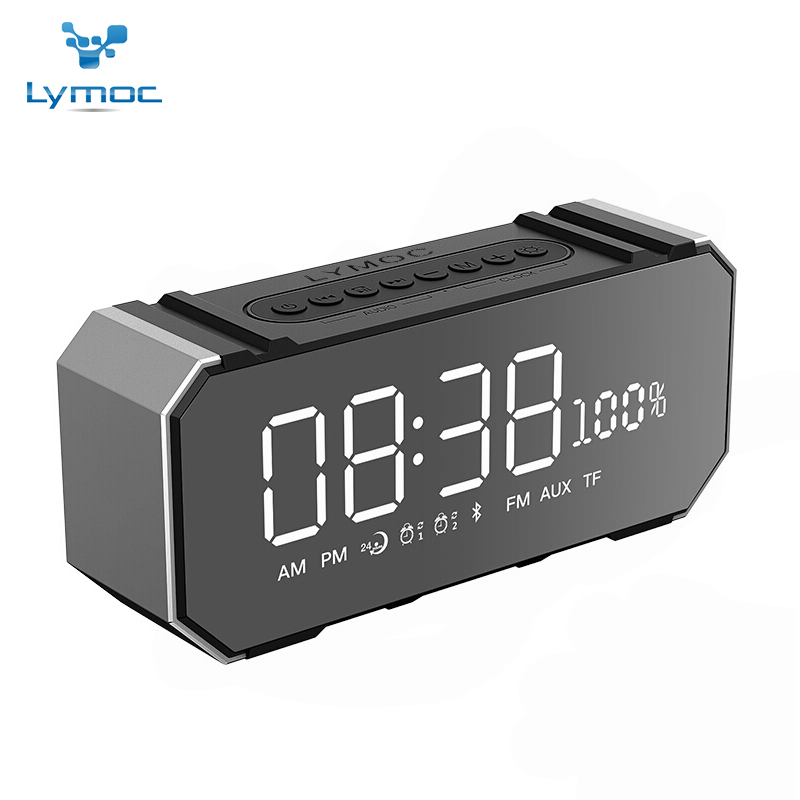 LYMOC Portable Bluetooth Speakers Metal Wireless 7.5'' LED Mirror Screen Alarm Clock TF FM U-Disk Hi-Fi AUX HD MIC for Phone Pc