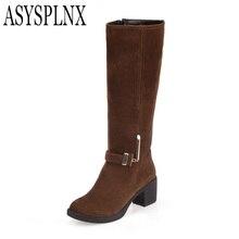ASYSPLNX Nubuck Brun bout rond talon Carré femmes genou haute Martin bottes, 2016 Automne de mode boucle en métal chaud dames chaussures