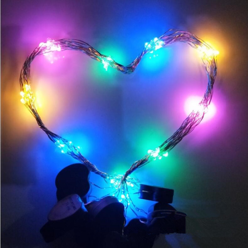 Painstaking Flashing Flower Garland Love Heart 10-leds String Light Wreath Lamp Glow Party Christmas Halloween Navidad Bright And Translucent In Appearance Event & Party Home & Garden