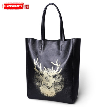 Genuine Leather Women shoulder bag casual big bag first layer cowhide tote bag female large capacity  fashion lady handbags