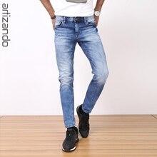 ARTIZANDO Jeans men 2017 Men's Jeans Classic Scratched  Elastic Pants Trousers Male Slim Stright Denim Vaqueros Bleached white