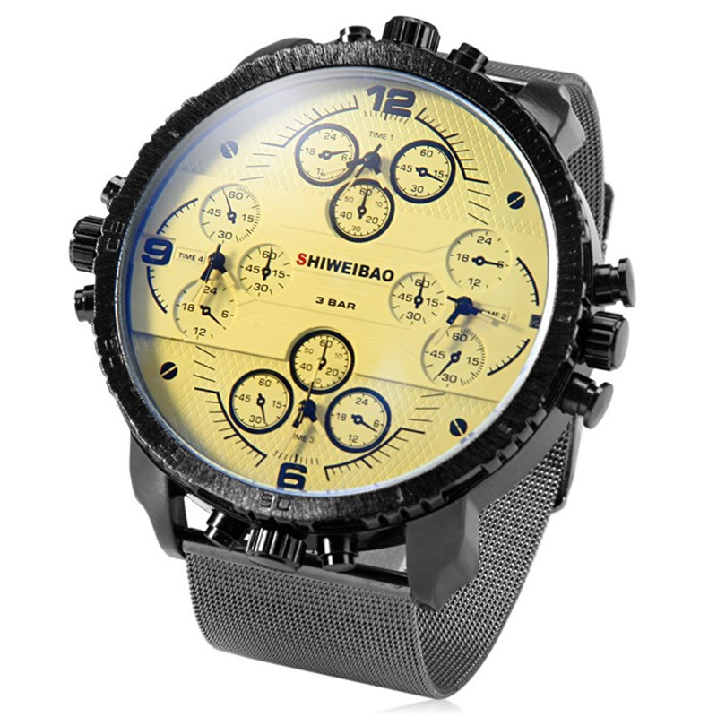 4 movement work Mens Watches Top Brand Quartz-Watch steel Strap Big Face Military Multiple Time Zone Quartz Clock relogio