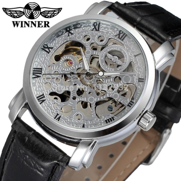 WRG8078M3S1 new arrival free shipping font b winner b font Automatic men silver color skeleton watch