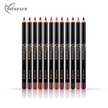 12 Colors Brand Lip Pencils Matte Lipliner Pencil Waterproof Makeup Lips 2018 Matte Lipstick Lip Liner Pen Smooth Nude Cosmetics