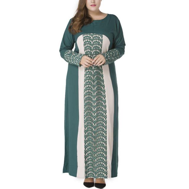 Women Dress Plus Size 7XL Patchwork Long Sleeve Lace Abaya Clothes