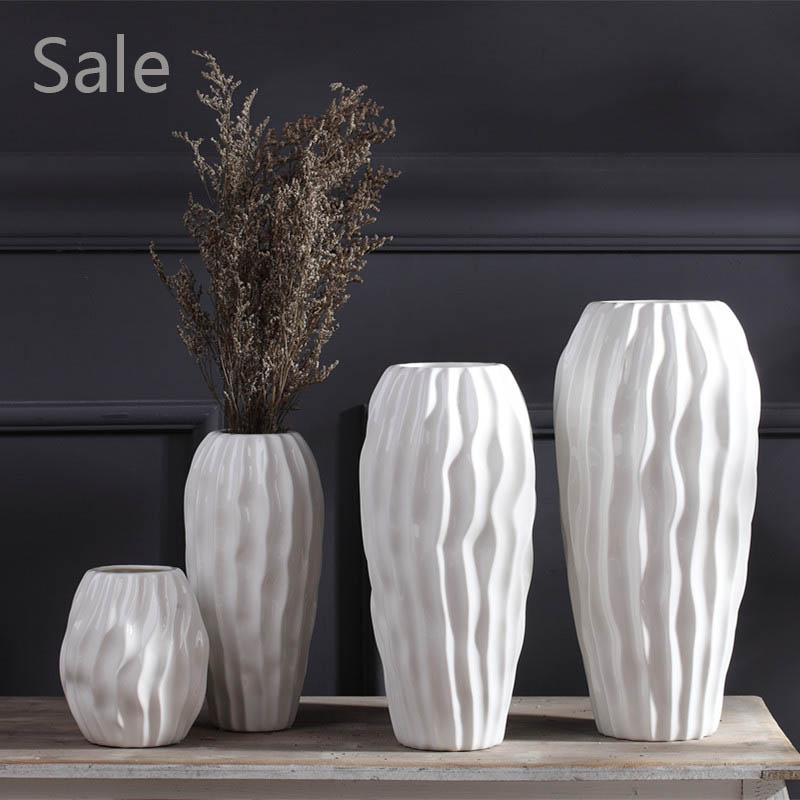 white ceramic flower vase crafts creative flowerpot simple. Black Bedroom Furniture Sets. Home Design Ideas