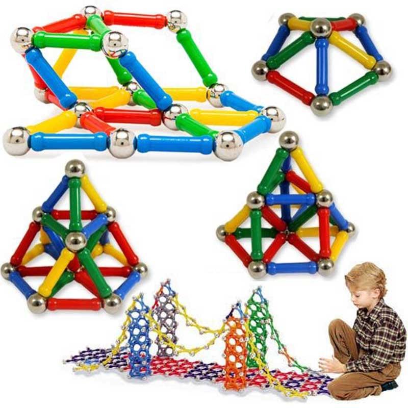 Construction Toys For Preschoolers : Magnet toy bars metal balls magnetic building blocks