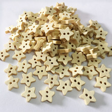 100pcs Wooden Buttons For Crafts Scrapbooking Accessories Star Shape DIY Baby Apparel Clothes Button