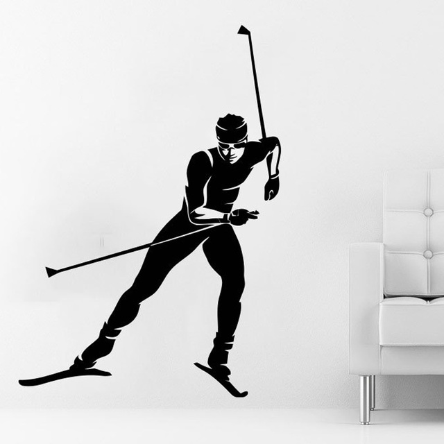 Skier wall decal sports athlete skiing wall decals vinyl stickers teens boys nursery baby room home