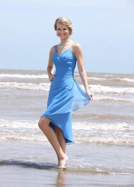 2016 Summer Chiffon Beach Blue Bridesmaid Dresses Short High Low Spaghetti Straps V Neck Informal Wedding