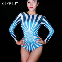 Blue White Stretch Long Sleeves Bodysuit One Piece Cosplay Costume Nightclub Sexy Women Singer Birthday Prom Party Clothes