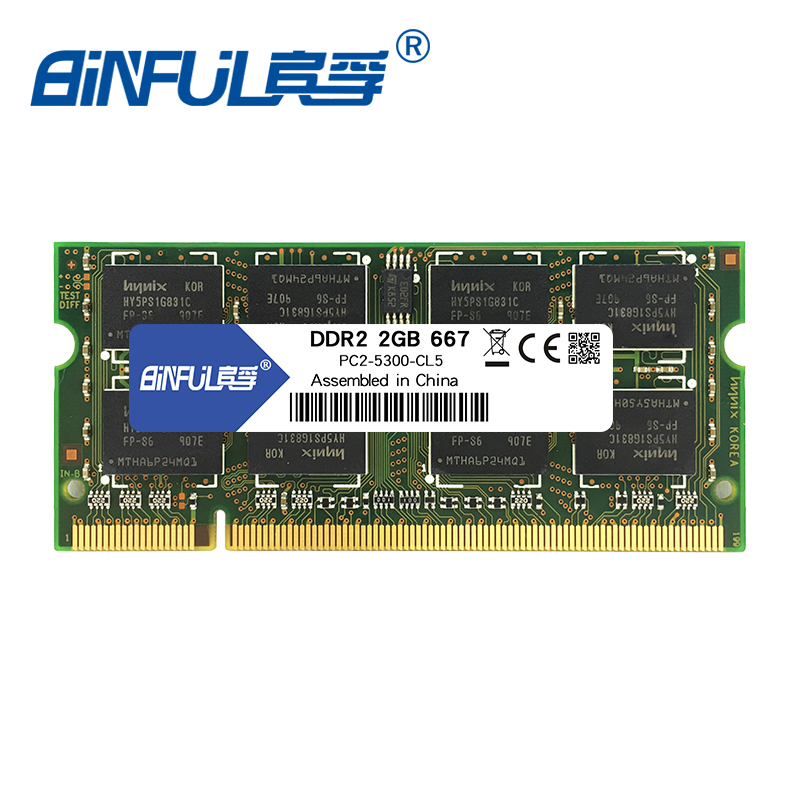 Binful Original DDR2 2 GB 667 MHz ram PC2-5300 200 pines Memoria de modelado SODIMM Ram Memoria para el ordenador portátil del cuaderno