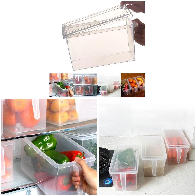Plastic Transparent Food Sealed Storage Box With Handle Refrigerator Snacks  Crisper Grain Tank Kitchen Sorting Container J2Y
