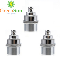 GreenSun 3Pcs Silver E27 E26 Light Bulb Holder Lamp Base Retro Vintage Antique Copper Socket Fitting