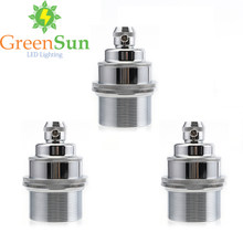 GreenSun 3Pcs Silver E27 E26 Light Bulb Holder Lamp Base Retro Vintage Antique Copper Socket Fitting Cord Grip(China)