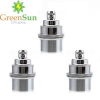 GreenSun 3Pcs Silver E27 E26 Light Bulb Holder Lamp Base Retro Vintage Antique Copper Socket Fitting Cord Grip