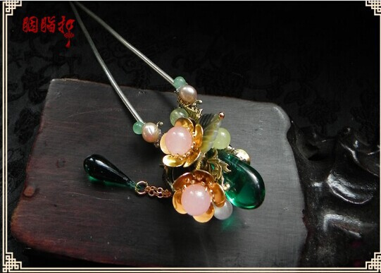 Colored Glaze Flower Hair Stick Cold Green Dew Hair Stick Hanfu Costume Hair Accessory Hair Jewelry pink crystal double layer classical hair stick vintage hair accessory hair stick hanfu hair accessory