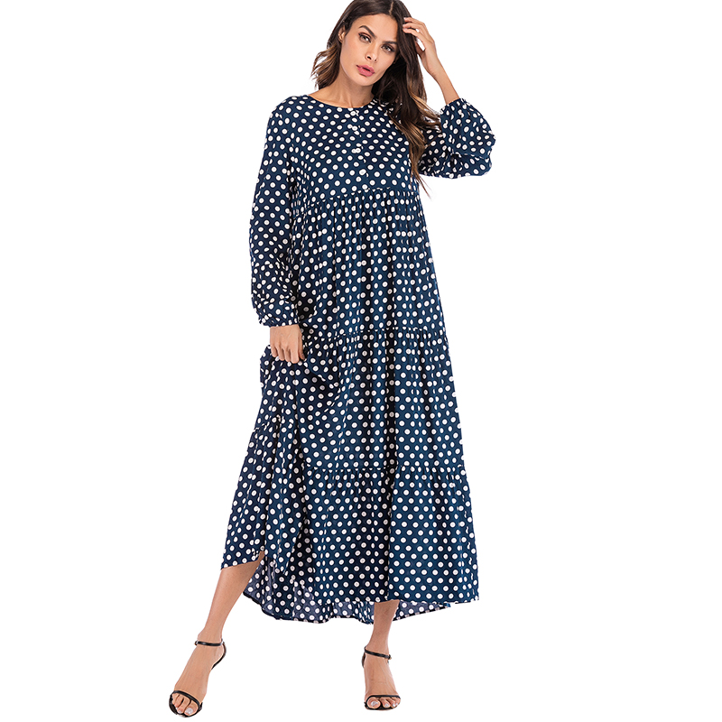 da51d5b2905 Korean Fashion Polka Dot Print Vintage Dress Women Maxi Long Dress Ruffle  Long Sleeve Gowns Beach Boho Dresses Plus Size 5XL 3XL ~ Free Shipping May  2019