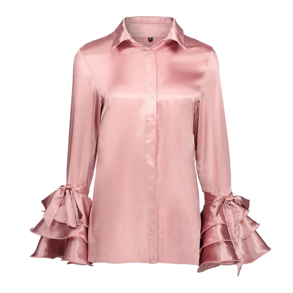 Brand Women Satin Pink Blouses Shirts Tops Fashion Ruffles Turn-down Collar Blouse Ladies Office Long Flare Sleeve Shirts Tops