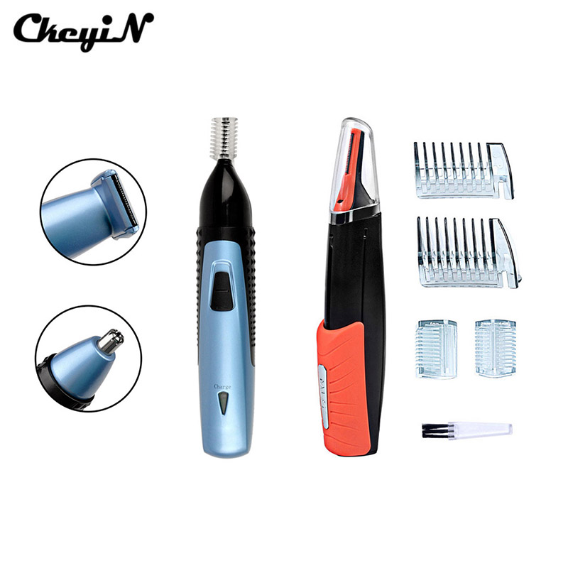 CkeyiN 2Pcs Beard Ear Eyebrow Nose Trimmer Removal Clipper Shaver With LED Light Multifunction Rechargeable Hair