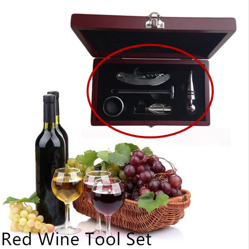 Red Wine Tool Set Wine Bottle Opener Set Wooden Box Five Pieces Set Bar Tools Sets Stopper Ring Pourer Thermometer