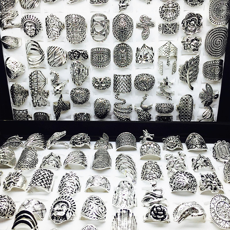 Image 3 - wholesale lot 50pcs mix styles women's retro Jewelry Rings brand new-in Rings from Jewelry & Accessories