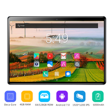 """Free Ship 10 inch tablet PC Android 7.0 Deca Core 4GB RAM 64GB ROM 1920*1200 IPS Kids Gift Tablets 10"""" IPS 2.5D Tempered Glass"""