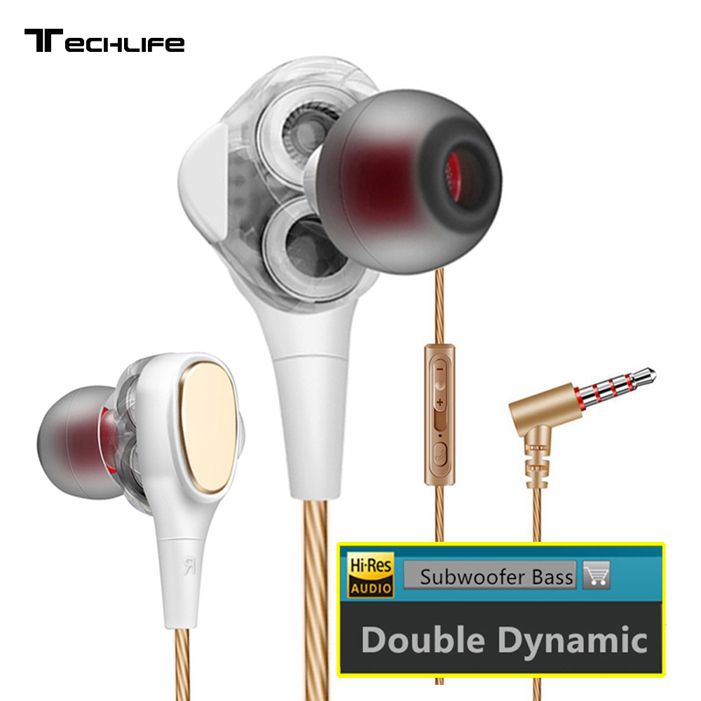 Dual Driver HiFi Earphones Stereo Bass 3.5mm Wired In-Ear Headphone for Mobile Phone With Mic for Samsung Xiaomi Huawei Phone yuntohe 2pcs in ear earphones headphone with mic