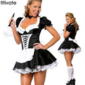 TITIVATE Alice in Wonderland Costume Fantasy Cosplay Carnival Halloween Dress Sailor Uniform Maid Performance Costume for Women