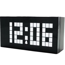 Large Size Font Multi-function LED Digital Clock Wood Grain Home Decor Alarm Clock With Timer