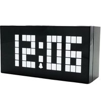 Large Size Font Multi function LED Digital Clock Wood Grain Home Decor Alarm Clock With Timer