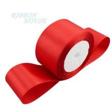(25 ярдов/рулон) 2 »мм 50 мм красное свадебное украшение ленты одного лица сатиновая подарочная лента Рождество ленты