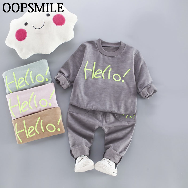 2017 Spring New kids clothes girls Cotton children clothing sets casual long sleeved tops + pants 2pc baby boy sport suit  2017 spring longsleeve cotton t shirts for girls clothing tops baby kids clothes lace bowknot korean style children girls tees