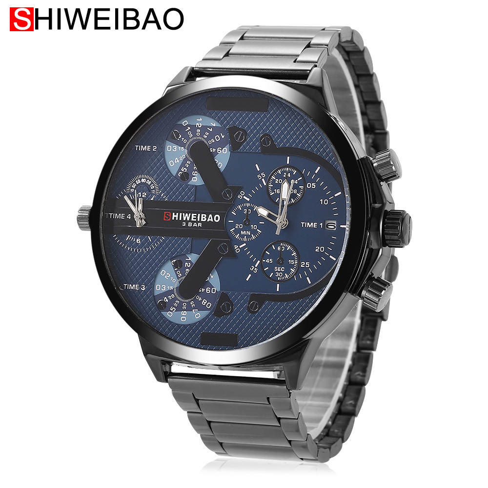 Big Watch Men Luxury Quartz Sport Military Mens Watches Full Black Steel Watchband Clock Man 2 Time Zones DZ Relogio Masculino shiweibao cool watch men sport watch men golden big case four time zones military watches date leather strap mens quartz watches