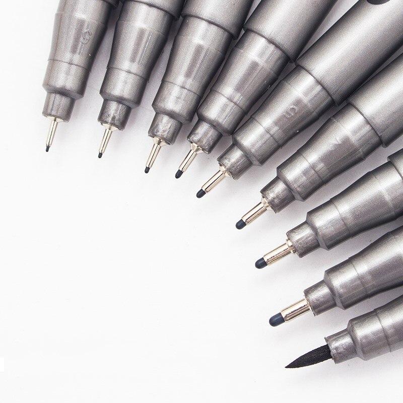 1 ชิ้น Pigment Liner Pigma ไมครอนหมึก MARKER PEN 0.05 0.1 0.2 0.3 0.4 0.5 0.6 0.8 เคล็ดลับที่แตกต่างกันสีดำ Fineliner Sketching ปากกา
