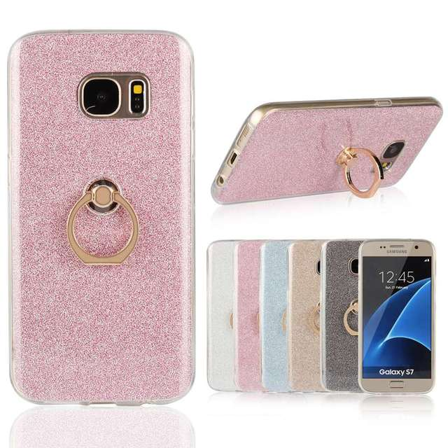 Glitter Sticker Ring Buckle Bracket Silicone Case For Samsung Galaxy S7 / S7 Edge