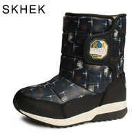 SKHEK niñas niños botas para niños zapatos de invierno botas de nieve impermeables niños lana media pantorrilla plana flores tela bota negro