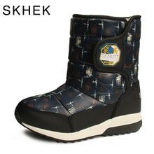 цена на SKHEK Girls Boys Boots For Kids Winter Shoes Waterproof Snow Boots Children Wool Mid Calf Flat Flowers Cloth bota Black