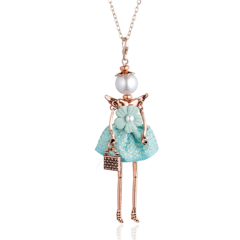 Statement cute doll necklaces pendants for women jewelry accessories vintage doll necklace long chain pendant female big choker in Pendant Necklaces from Jewelry Accessories