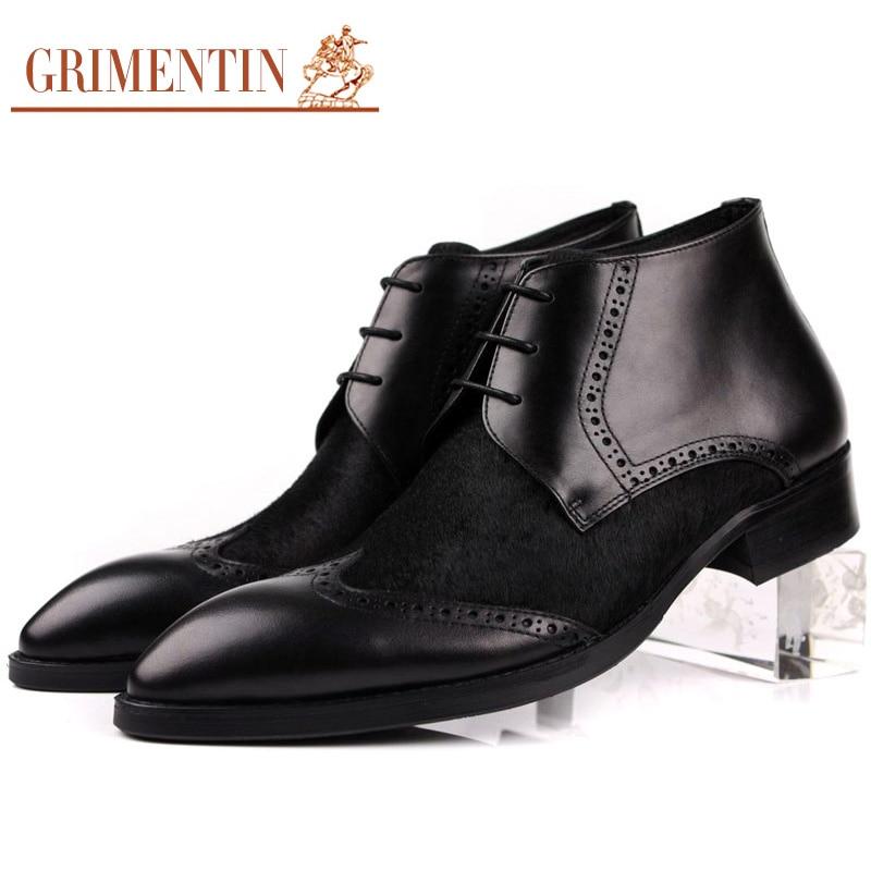 Brown Horsehair Leather Mens Shoe