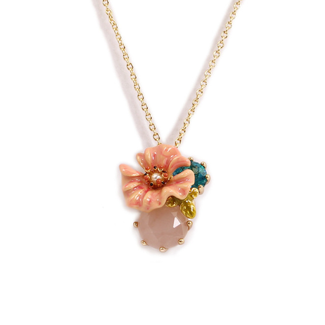 France Major Enamel Naked Pink Colour Flower Blue Crystal Opal Necklace Clavicle Chain Woman Gold-plated New Product Be Listed