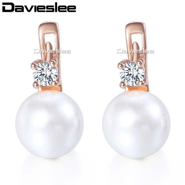 ca8ea370f Davieslee Womens Stud Earring White Simulated Pearl 585 Rose Gold Filled  Cubic Zirconia CZ Earrings For Women LGE128