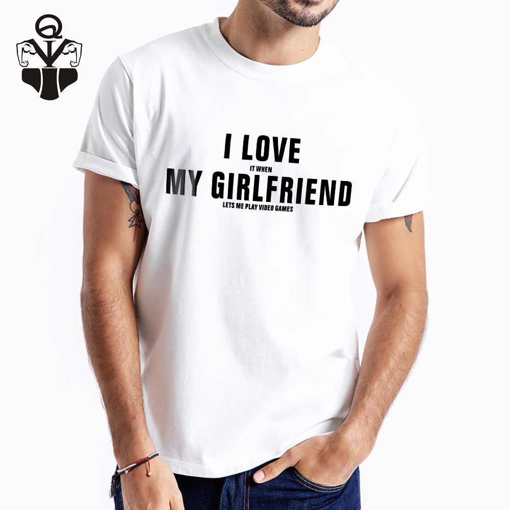 QIM I Love My Girlfriend O-Neck Print Casual Summer Top Tees For Men Fashion T-shirt Men Casual T-shirt Short Sleeve T-shirts