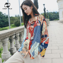 Korean version of the street style spring and autumn new printing shirt loose lapel long-sleeved Hong Kong-style women