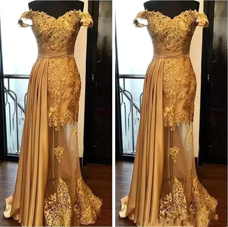 Gold Muslim   Evening     Dresses   2019 Mermaid Off The Shoulder Lace Beaded Islamic Dubai Saudi Arabic Long Formal   Evening   Gown Prom