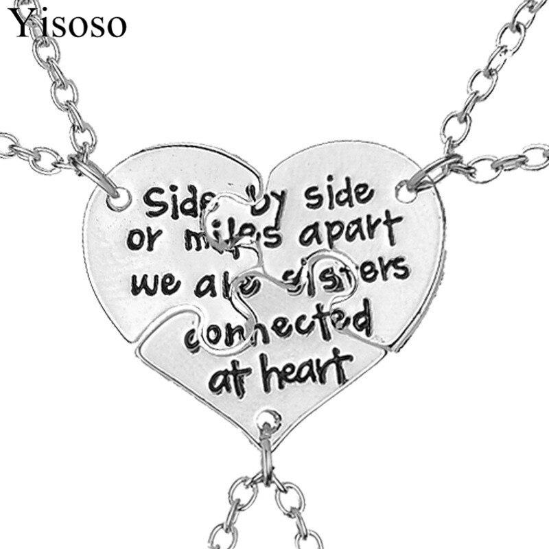Yisoso 3Pcs/set Best Friends Pendant Necklaces Silver Color Choker Neckless  Friendship letters Necklace Women men Jewelry XL047