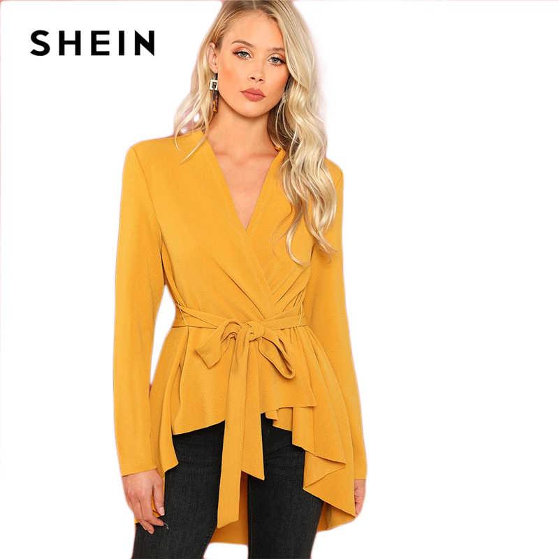 bdf2a5fc91 ... SHEIN Ginger Office Lady Elegant Asymmetrical Hem V neck Belted Solid  Coat 2018 Autumn Workwear Fashion