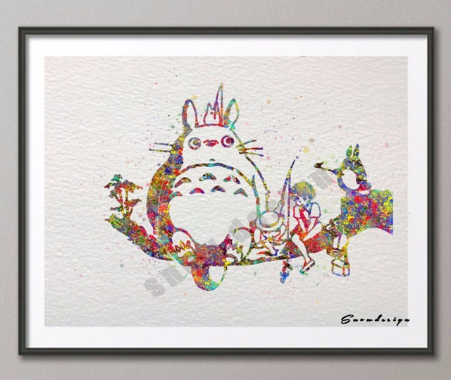 Original Watercolor My Neighbor Totoro Poster Print Pictures Canvas  Painting Wall Art Kids Room Home Decor Wall Hanging Sticker