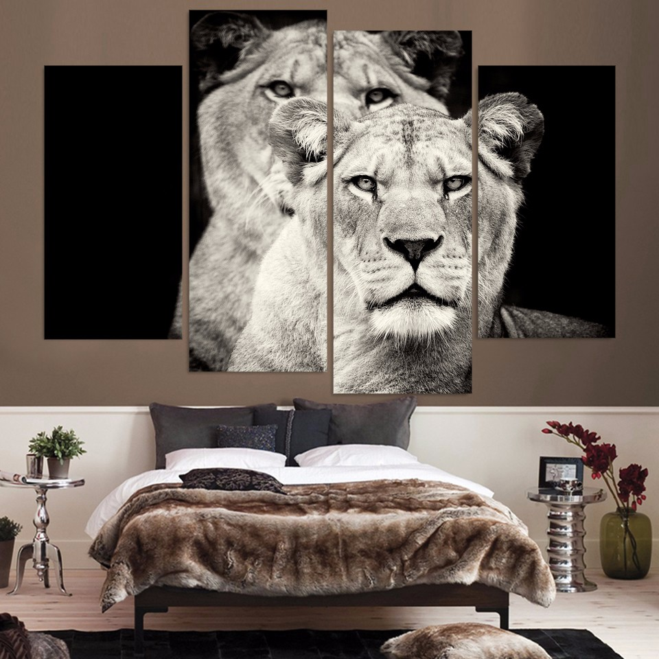 HD Printed 4pcs Black and White Lion Painting on Canvas Room Decoration Print Poster Picture Canvas Framed Free Shipping