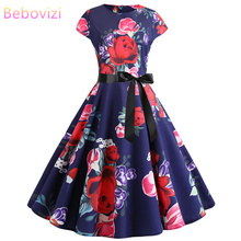 Bebovizi 2019 Summer New Women Casual Office Elegant Vintage Dresses Flower Print Plus Size Sexy Party A-Line Bandage Dress